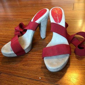 Jessica Simpson sz 6.5B red strap on sling backs